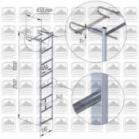 Лестница алюминиевая навесная со стальными кронштейнами лна-ск