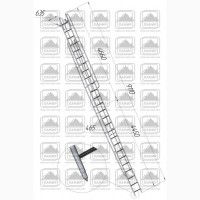 Лестницы приставные наклонные алюминиевые лпна-8, 2, лпна-8, 2м